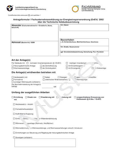 dieses gefahrenpotenzial wird durch die neue verwaltungsvorschrift zur brandenburgischen bauordnung bbgbo vom 1 september 2003 gesenkt zu 36 absatz 6 - Fachunternehmererklrung Muster