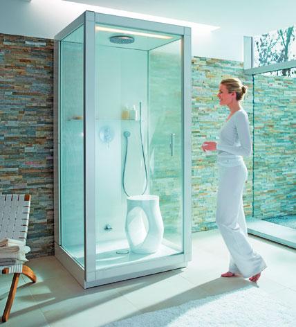 wellness auf kleinstem raum kompakte und anschlussfertige duschkabinen mit dampfsauna. Black Bedroom Furniture Sets. Home Design Ideas