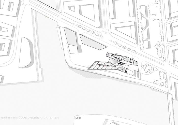 Hafen City Universität (HCU) Hamburg, Lageplan. Bild: CODE UNIQUE<br />